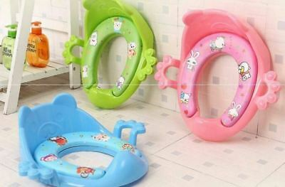 Pink Baby Toilet SEAT Children Potty Training Seat Baby Kids Toddler Handle Toilet Soft Pad Cushion