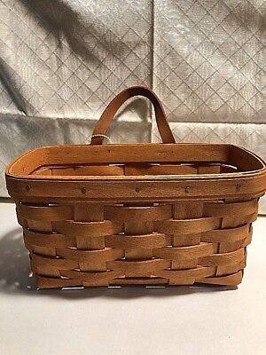 "Longaberger 1990 Medium Key Basket with Leather Handle 9""x5""x5""Signed & Dated"