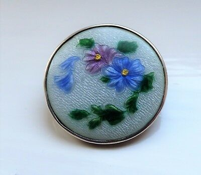 Antique Edwardian Silver Guilloche Enamelled Flower Brooch Forget Me Not Flowers