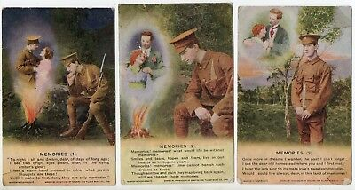 Bamforth * Song Cards * Wwi Soldier * Memories * Set Of Three 4844 * E115