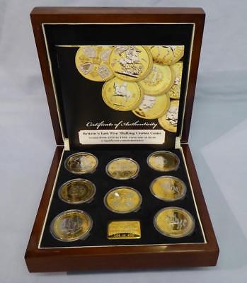 Cased Set Britain's Five-Shilling Crowns 1951 To 1981 - 24 Carat Gold Plated