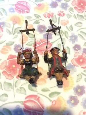 Vintage German Cockoo Clock Hanging Swinging Boy And Girl