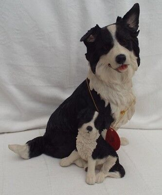 Large Country Artists Border Collie Dog With Puppy Figurine Sculpture 0166