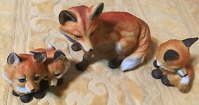 Family of Ceramic Fox Family Figurines Endangered Young'Uns Enesco