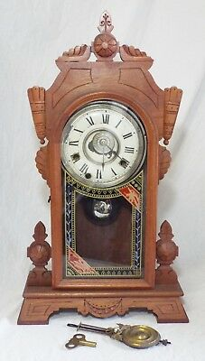 Old Antique NEW HAVEN NEVA 8 Day Alarm MANTLE Shelf CLOCK w/ Key & Pendulum RUNS
