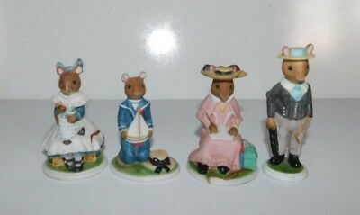 4 Franklin Mint Woodhouse Mouse Mice Figurines FP '85