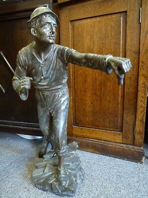 Victorian Antique Vintage lg cast metal Miner Statue Sculpture Figure Gas Lamp