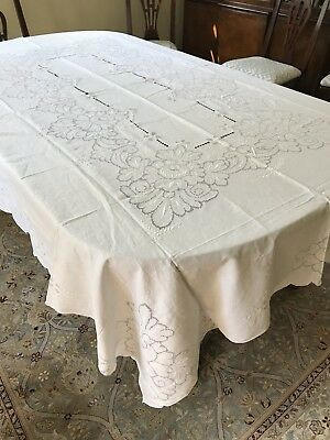 Vintage Linen Hand Made Mosaic Lace Embroidered Tablecloth White Floral 96""