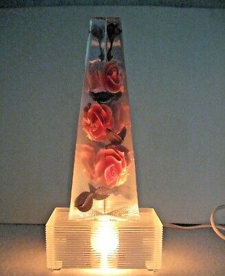 Vintage ROSE lucite night light lamp 6 ft cord on off switch