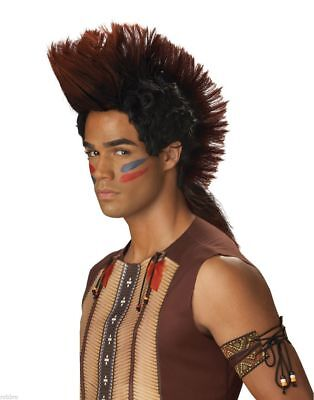 Mohawk Indian Warrior Costume Wig Chief Brave Native American Pawnee Fauxhawk