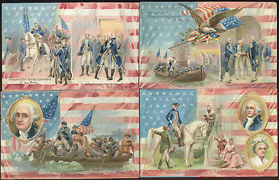 Lot Of 4 Colorful Tuck George Washington's Birthday Series Post Cards