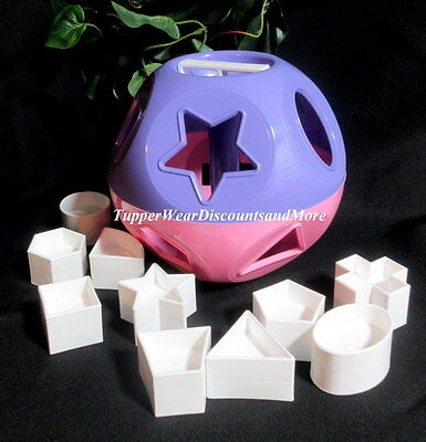 Tupperware NEW Shape O Ball Toddlers Development Toy PINK & Purple White Shapes