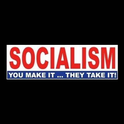 "Funny ""SOCIALISM: YOU MAKE IT ... THEY TAKE IT"" Anti Liberal BUMPER STICKER maga"
