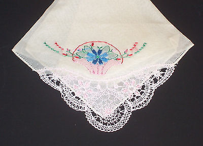 Crocheted Lace Embroidered Vintage Handkerchief Floral Hankie Cotton