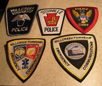 Lot 5 patches Millcreek police Twp Communications & Titusville PD & Corry PD new
