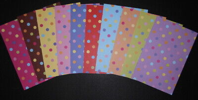 "10 x COLOURFUL SPOTS ~Scrapbooking/Cardmaking Papers~ 15cm x 10cm (6"" x 4"")"