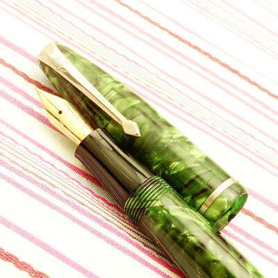 Vintage CONWAY STEWART 75 Emerald Green Pearl Marble Chrome Lever Fountain Pen