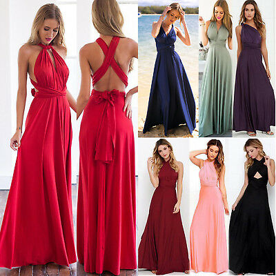 Convertible Multiway Women's Long Maxi Dress Bridesmaid Cocktail Party Prom Gown