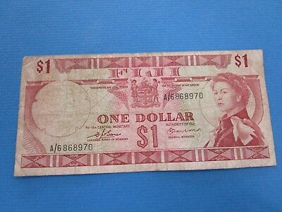 Fiji 1969 One  Dollar Note Fine and circulated
