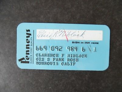 Vintage 1960s J C Penny Department Store Credit Charge Card