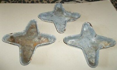 3 Unusual OLD Cast Steel Metal Decorative Architectural 4 Star Containers Use ?