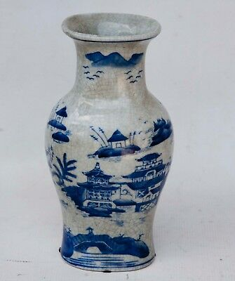 "10"" TALL Vintage Chinese Hand Painted Blue&White Porcelain Vase"