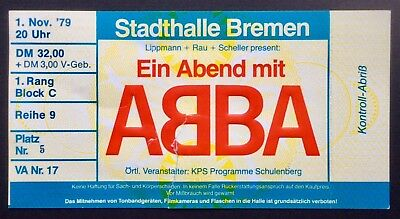 ABBA - November 1, 1979 Used Concert Ticket Bremen Germany - VERY RARE!