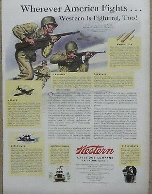 "M1 Garand Ad WWII Print Ad Winchester Western Cartridge Co.""Wherever..."""