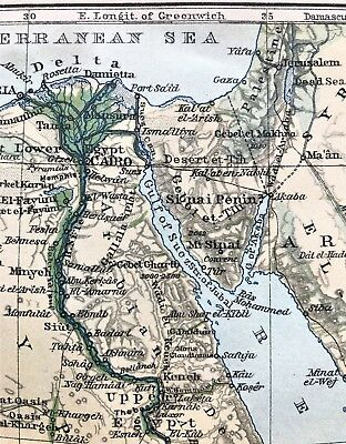 1908 Original Antique Map / Plan ~ SKETCH of EGYPT ~ Nile Color BAEDEKER Rare