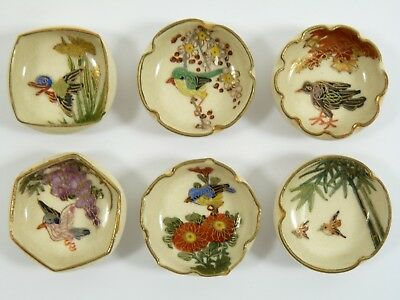 SATSUMA Pottery - Rare Set of 6 Miniature Bird Bowls - Signed