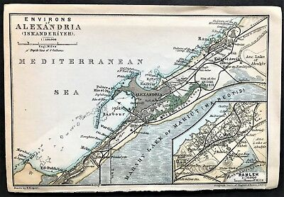 1908 ENVIRONS of ALEXANDRIA, EGYPT - Original Antique City Map - BAEDEKER
