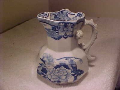 19C. Mason's Ironstone Blue & White Pitcher  serpent handle and strainer spout