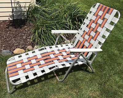 Chaise Lounge Lawn Chair Aluminum Webbed Folding Reclining Vintage Camping Patio