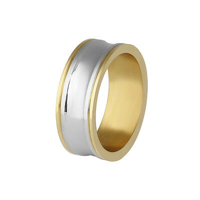 316L Stainless Steel Fashion Gold Plated Round Wedding Band Rings Size 7 8 9 10