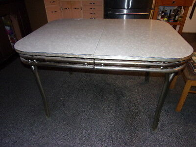 Pre 1950 3'x4' Chrome Tube/Formica Kitchen Table w/1' self storage, hinged leaf.