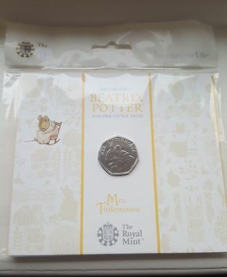 2018 MRS TITTLEMOUSE 50p Fifty Pence Coin BUNC Royal Mint Pack NEXT DAY DISPATCH