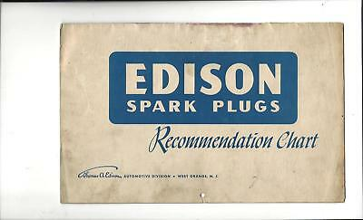 1948 Edison Spark Plugs Recommendation Chart Cars,Tractors,Rail Cars,Motorcycles