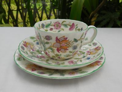 Vintage 1st Quality Minton Haddon Hall Fluted Tea Cup, Saucer & Plate Trio