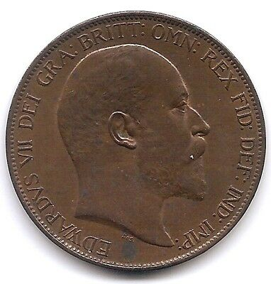 Great Britain 1903 1 Penny Coin KM794.2 in UNC / AU