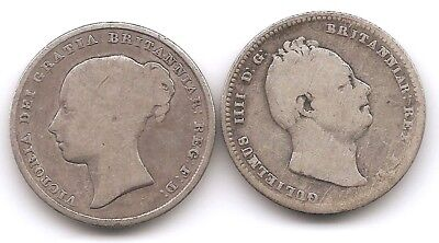 Great Britain Lot of 2 Silver Shilling Coins 1834 William IV & 1839 Victoria