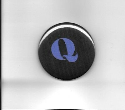 "Q ANON 2"" Pin Back Button Black with Blue Q"
