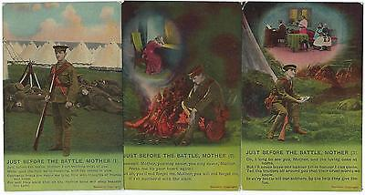 """BAMFORTH - """"JUST BEFORE THE BATTLE, MOTHER"""" Set of 3 Song Cards Postcards"""