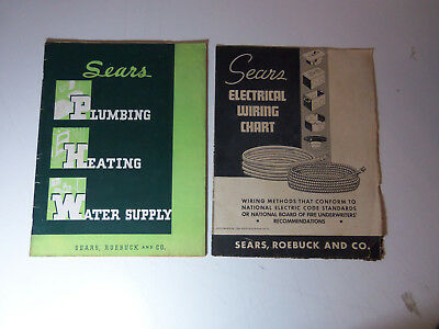 1936-37 Lot SEARS ROEBUCK Plumbing Heating Catalog 68 PAGES & ELEC WIRING CHART