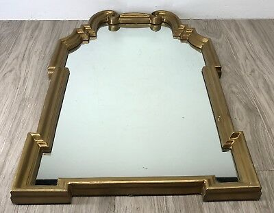 "Gold Painted Wood Gilt Gesso Frame Wall Mount Mirror 40x24"" Ornate Vintage Decor"