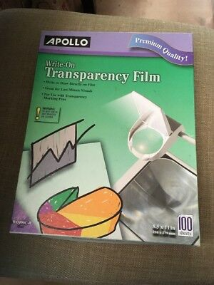 Apollo Write-On Transparency Film 8.5 x 11 Inches Clear 100 Sheets:  WO100C-B