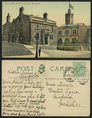 BRIERFIELD Town Hall & FIRE STATION Lancashire 1906 Old Postcard Fire Brigade