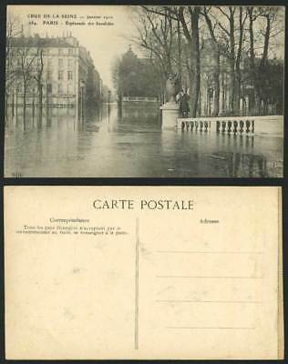 PARIS FLOOD 1910 Old Postcard Esplanade des Invalides Man Standing