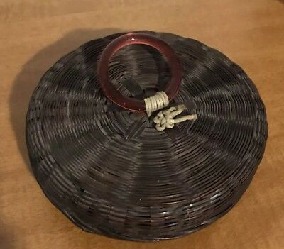 Vintage Sewing Wicker Basket Full Of Embroidery Thread skein pat 12-27-1921