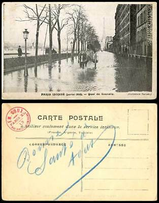 PARIS FLOOD 1910 Old Postcard TOUR EIFFEL TOWER Quai de Grenelle, Bridge, Horse