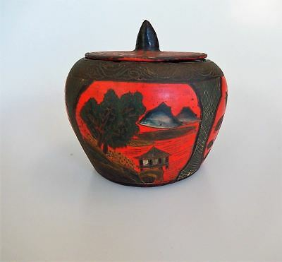 Chinese Paper Mache Lidded Jar Box Etched Scenes Antique